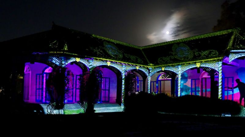 GLOVER GARDEN 3D Projection mapping : 2nd January 2018 / Panasonic LUMIX GX8 + Kit Lens 28mm 16:9 Frame No Filter No edit No tripod handheld testshot. GLOVER GADEN × KINGDOM OF LIGHTS 光の王国 イン グラバー園 Nagasaki Today Projection Mapping Glover Garden Moon Light Night Illuminated Low Angle View Architecture Built Structure Multi Colored No People