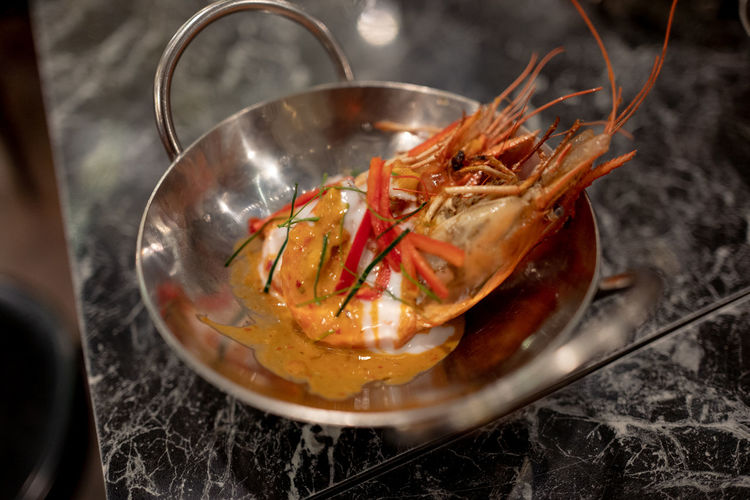 Animal Chinese Food Close-up Cooking Pan Crustacean Food Food And Drink Freshness Gourmet Healthy Eating High Angle View Household Equipment Indoors  Kitchen Utensil Ladle Luxury No People Prawn Ready-to-eat Seafood Steam Wellbeing