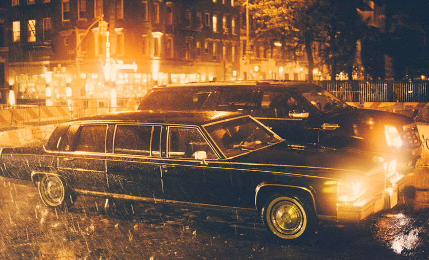 Manhattan Rain Architecture Building Exterior Built Structure Car City City Life Illuminated Land Vehicle Limousine Mode Of Transportation Motor Vehicle Night No People Old Retro Styled Road Street Taxi Transportation Travel