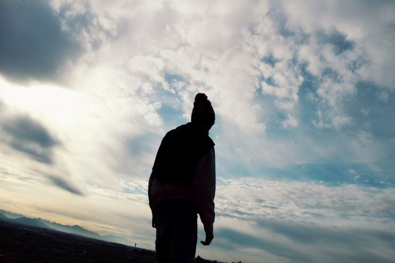 All the way up Clouds Sky Shadow Cloud - Sky Sky Real People Leisure Activity Lifestyles One Person Silhouette Nature Beauty In Nature Sunset Standing Day Tranquility