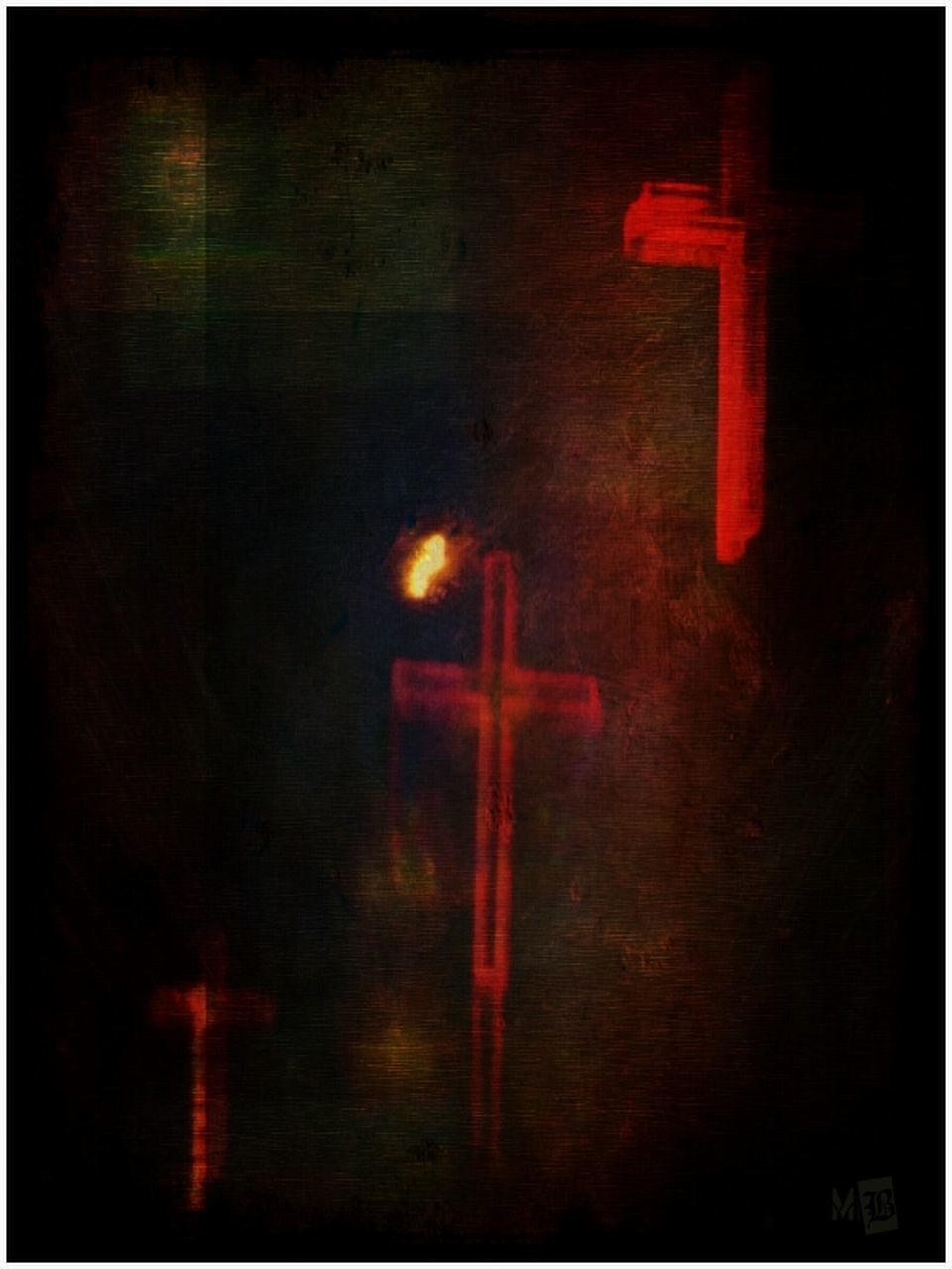 auto post production filter, cross, red, religion, no people, spirituality, indoors, close-up, night, illuminated