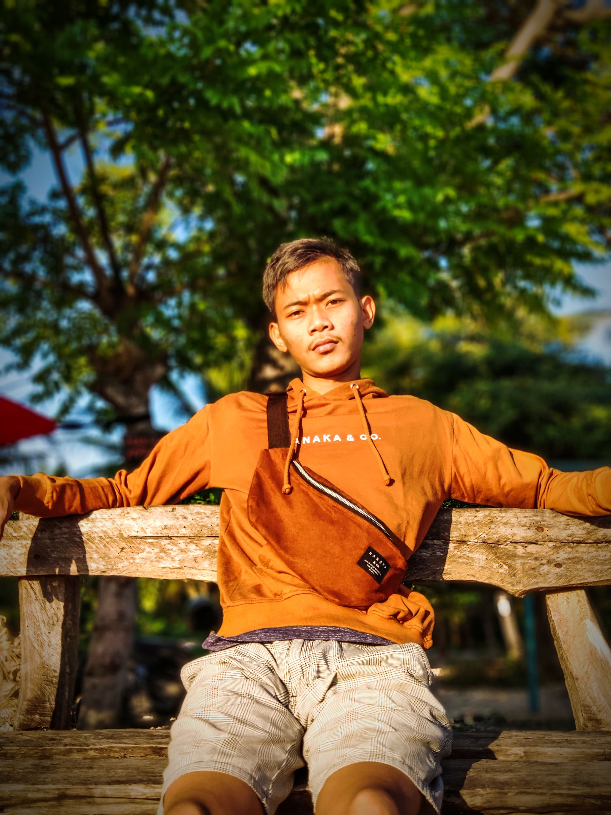 one person, casual clothing, tree, three quarter length, real people, wood - material, day, leisure activity, men, lifestyles, sunlight, males, orange color, front view, boys, childhood, standing, focus on foreground, nature, outdoors, human arm, innocence