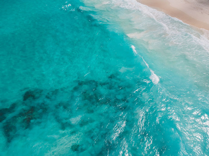 High angle view of swimming pool in sea