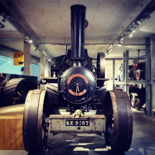 Huge German Steam Machine ! Puppy stuffedanimal stuffedanimals beagle dog tractor history farm germany europe european hipster cute adorable love follow friends party swag swagger like museum train locomotive conducter