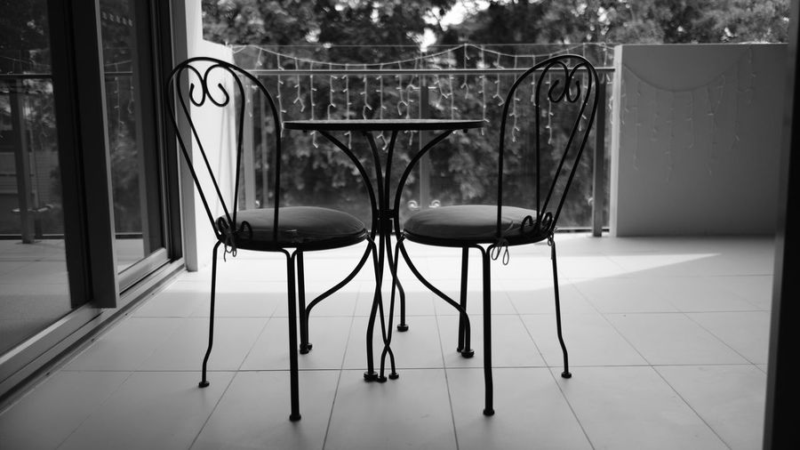 Balcony Balcony View Black & White Black And White Blackandwhite Blackandwhite Photography Brisbane Close-up Day Fujifilm Monochrome Nature No People Outdoor Furniture Outdoors