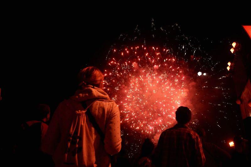 Rear view of people enjoying firework display at night