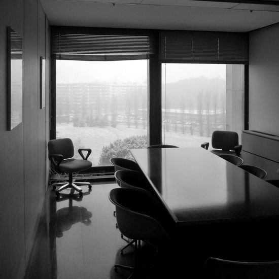 Olivetti Snowing Winterscapes Officeview Empty Chairs Tables Views From Windows Italy Ivrea