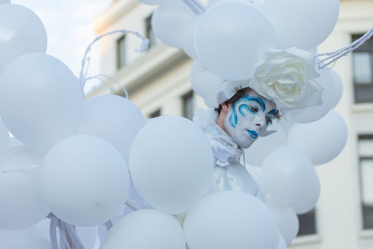 Close-up of white balloons