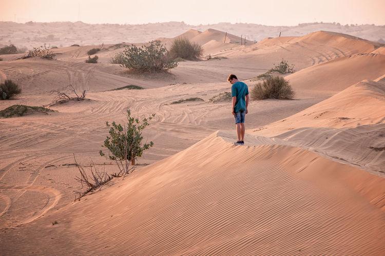 Rear view of man on sand dune in desert