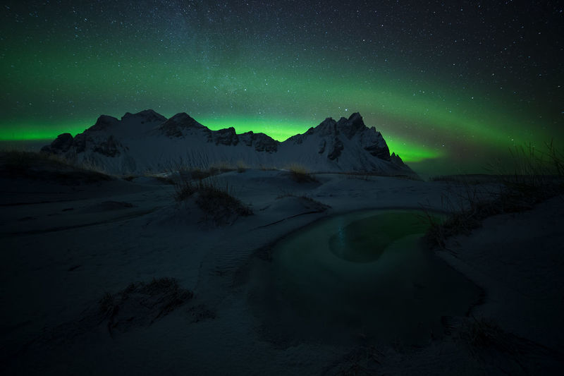 Scenic view of snowcapped mountains against sky with aurora polaris at night