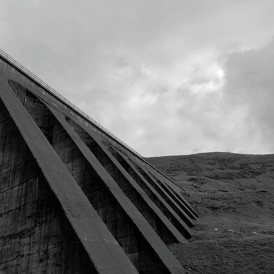 Architecture Sky Engineering Dam Concrete Wall Black And White Photography Black And White Brutalism No People
