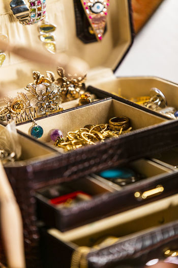 Spreading out the jewelery box Pearls Selective Focus Gold Colored Indoors  Variation Jewelry Still Life Jewelry Box Choice Wealth No People Luxury Gold Close-up Large Group Of Objects Necklace Fashion Art And Craft Table Container Retail  Pearl Jewelry Retail Display Sale Personal Accessory Precious Gem