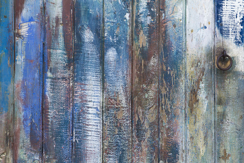 Old painted wooden door Backgrounds No People Wood - Material Close-up Day Textured  Outdoors Pattern Weathered Old Metal Wood Tree Blue Rough Plank Vintage Rusty Cracked Paint Door
