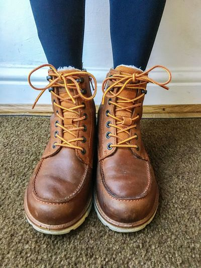 Winter boots Readyforwinter Winter Winterboots Feet Laceup Boots Laceupshoes Women Womensboots Boots Workboots Shoe Low Section Human Leg Body Part One Person Human Body Part Shoelace Close-up Lifestyles Human Foot Pair Brown Boot Leather