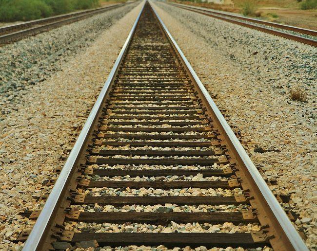 Railroaded Desert Diminishing Perspective Eric Barnes Photography I-10 No People Perspective Rail Transportation Railroad Track Redman Arizona Southwest  The Way Forward Train Transportation Vanishing Point