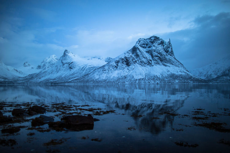 Beauty In Nature Blue Cloud - Sky Cold Temperature Day Lake Landscape Mountain Mountain Range Nature No People North Norway Outdoors Reflection Reflection Rocks Scenics Sky Snow Tranquil Scene Tranquility Water Winter
