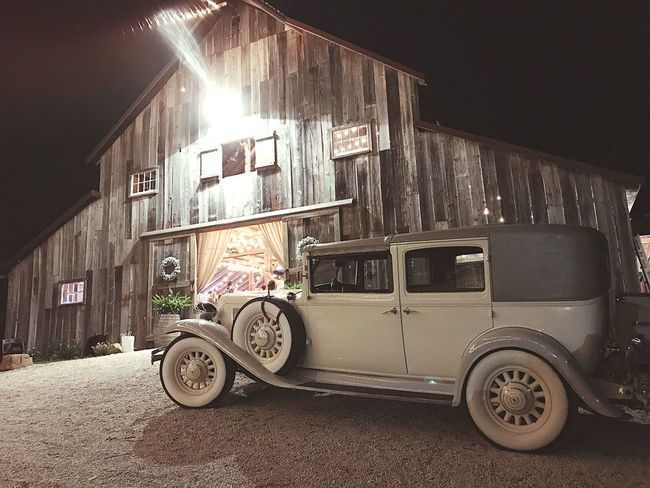 1930 Chrysler Imperial 8 in front of a wedding Barn. So rustic and so much age is shown here. I found the light was perfect and the way the history came together was just perfect for the moment of time. Transportation Architecture Car Illuminated No People Night Stationary Historic Classic Car Rustic First Eyeem Photo