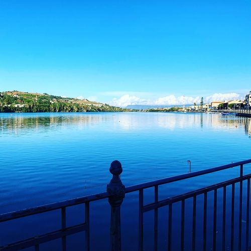 Messina Sicily Siciliabedda Sicilia Lake Water Sky Railing Architecture Blue Nature Scenics - Nature Beauty In Nature Tranquility Outdoors Reflection No People River Tranquil Scene