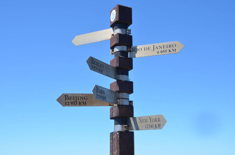 Low Angle View Of Road Signs Against Clear Sky