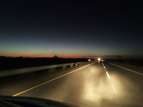 Road Transportation The Way Forward Road Marking Highway Windshield Car Travel No People Road Trip Dividing Line Illuminated Sky
