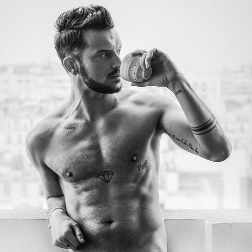 tea cup in the morning Beautiful Coffee Happiness Man No Pain, No Gain Paris Profile Soft Tea Balcony Beard Blackandwhite Cup Drink Fit Fitness Hairstyle Hairy  Men Monochrome Muscles Muscular Build Strong Tattoo Topless, This Is Masculinity
