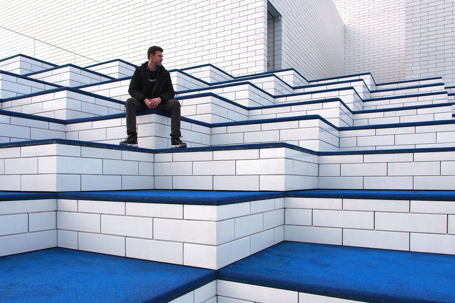 Billund Denmark Lego House Architecture One Man Only One Person Only Men Staircase Steps And Staircases