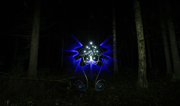 Light Painting, 152 sec Exposure Abstract Alien Art Blue Creative Creativity Dalarna Dalecarlia Dark Europe Forest Illuminated Light Painting Light Photography Lightpainting Mystic Nature Night No People Northern Europe Outdoors Painting Scandinavia Sweden Tree