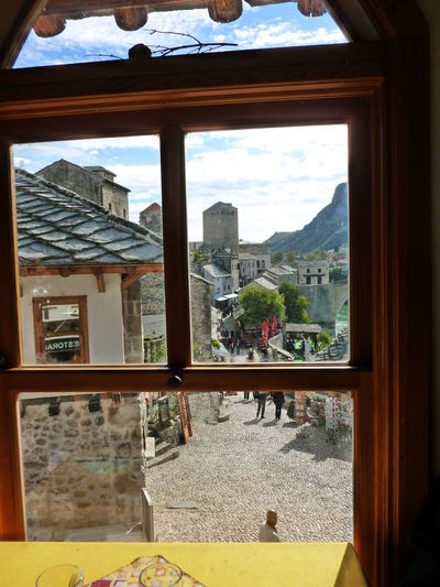Mostar Bosnia TOWNSCAPE Architecture Building Exterior Built Structure Close-up Day Indoors  Looking Through Window Mountain Nature No People Sky Sunlight Town In A Frame Tree Water Window Window Frame Window View