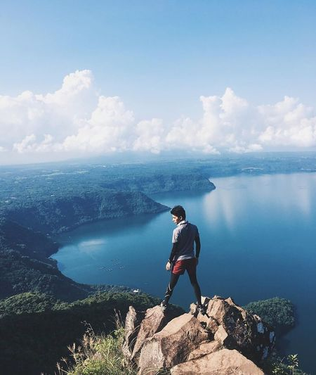B E L I E V E Exploration One Man Only Discovery Only Men One Person Adults Only Adventure Adult Men People Lake Backpack Looking At View Landscape Hiking Scenics Nature
