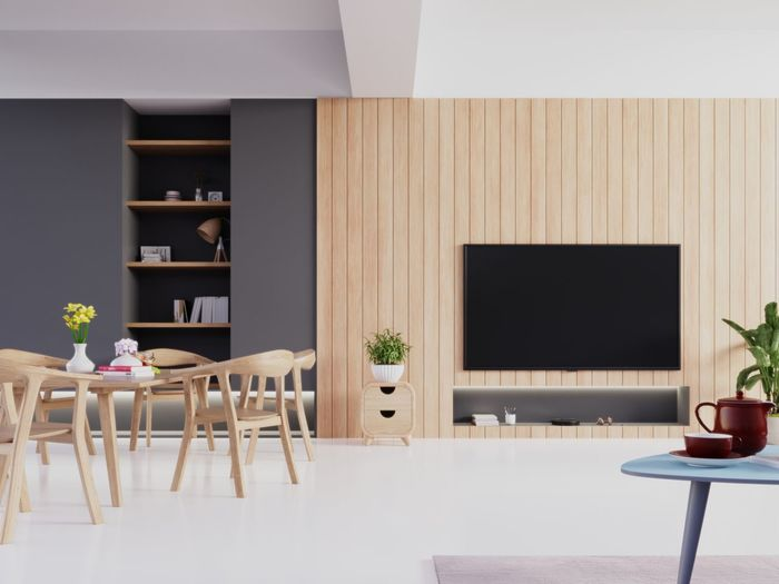 Modern living room with tv set and dining room,3d rendering Table Chair Seat Indoors  Home Interior Furniture Home Showcase Interior Plant No People Flower Modern Absence Empty Home Flowering Plant Architecture Domestic Room Vase Built Structure Wood - Material Flooring Luxury Glass Tv Tv Room