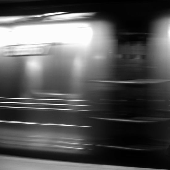 Blurred motion of train