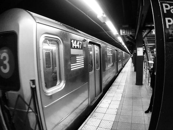 #subway #newyork #blackandwhite Subway Train Subway Indoors  Passenger Train Travel No People Illuminated Architecture Laundromat Direction
