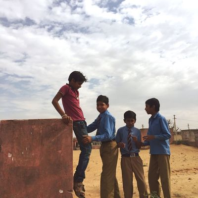 Cloud - Sky Sky Childhood Friendship Playing Fun Togetherness Lifestyles Outdoors India School Complicity Rajasthan