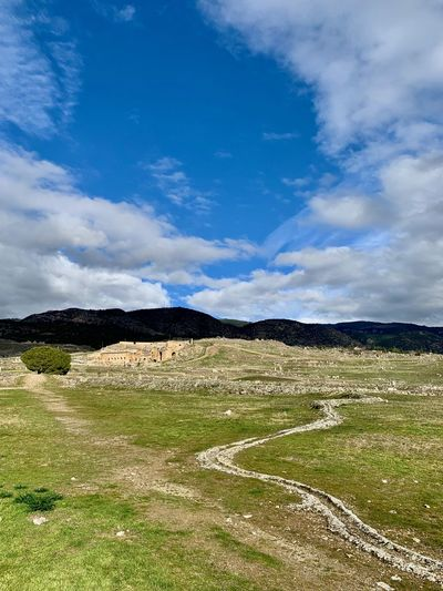 Cloud - Sky Sky Nature Day No People Tranquility Tranquil Scene Scenics - Nature Non-urban Scene Outdoors Environment Pamukkale Pamukkale/Turkey Turkey Ancient Civilization Landscape History Archaeology Beauty In Nature Land Field Mountain Grass Postcard