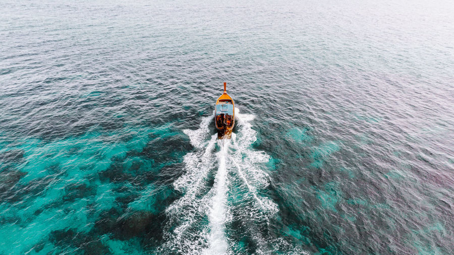 High angle view of person in sea