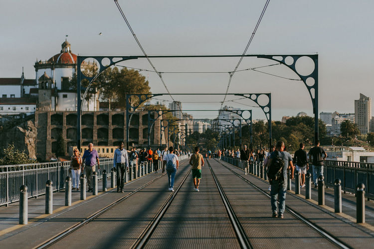 Crowd Built Structure Railroad Track Lifestyles Outdoors City Life Evening Railway Porto Portugal Travel Destinations