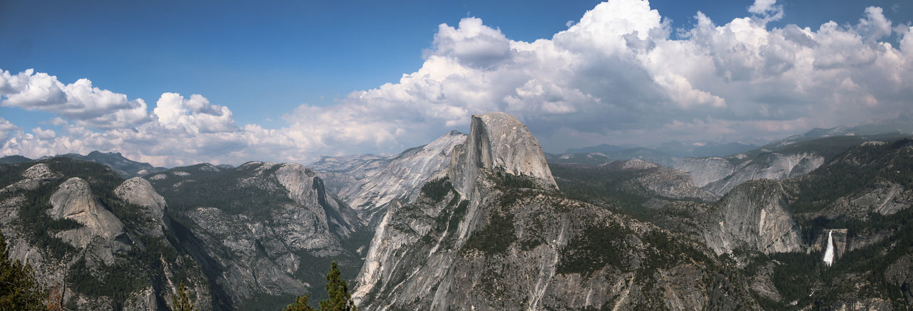 Panoramic view of landscape half dome yosemite and mountains against sky