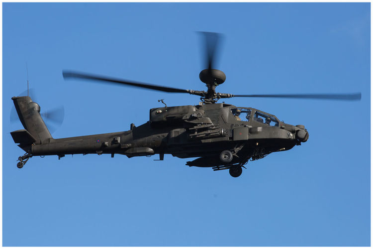Fly-by Aircraft Rotor Motion Blur Apache Helicopter Apache Flying Fly-by Captured Moment Capture The Moment Military Clear Sky Blue Flying Helicopter Sky Air Vehicle