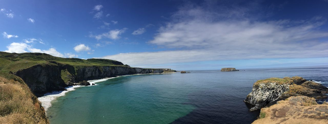 View NoEditNoFilter Travel Carrick-a-Rede Rope Bridge Ballintoy Northern Ireland EyeEm Selects Water Sky Scenics - Nature Beauty In Nature Sea Cloud - Sky Tranquil Scene Land Rock Nature Idyllic Day Blue Rock - Object Horizon Over Water Horizon No People