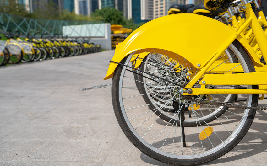 Bicycle in parking lot