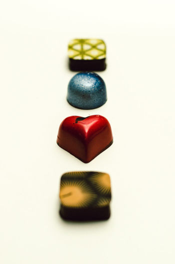 Candy Chocolates Close-up Colorful Colors Indoors  Multi Colored No People Studio Shot Variation White Background