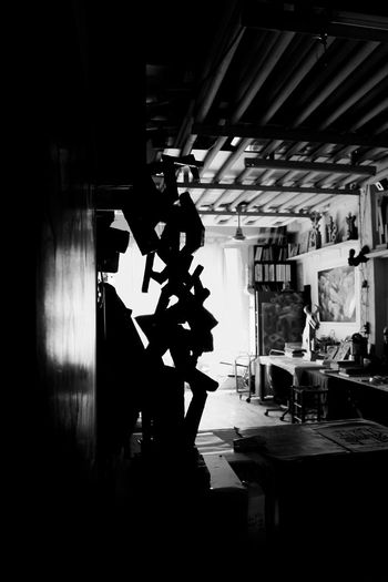 Indoors  Silhouette Occupation Only Men People Adults Only Adult Day Artist Artiste Art Atelier Atelier Artistique Arts Laboratory Frigoparis Paris, France  Frigosparis Paris, France  Musical Instrument No People Shadows And Backlighting Shadows & Light Black And White Photography Atmospheric Mood One Man Only Metal Industry Your Ticket To Europe The Week On EyeEm EyeEmNewHere Black And White Friday