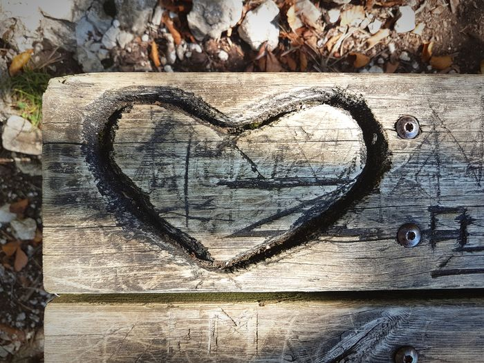 ♡ 4ever! Bench In The Woods Old Heart Inscribed Bench In Nature Love In Nature Heart Shape Heart Shapes In Nature Hearts♡hearts Textured  Love Wood - Material Full Frame Heart Shape Art And Craft Close-up
