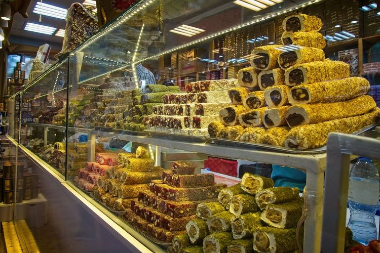 Oriental sweets at the market Choice Food And Drink Variation Retail  Food Store Freshness Business Transparent Glass - Material Large Group Of Objects Abundance Indoors  For Sale Retail Display Arrangement No People Sweet Food Dairy Product Market Display Cabinet