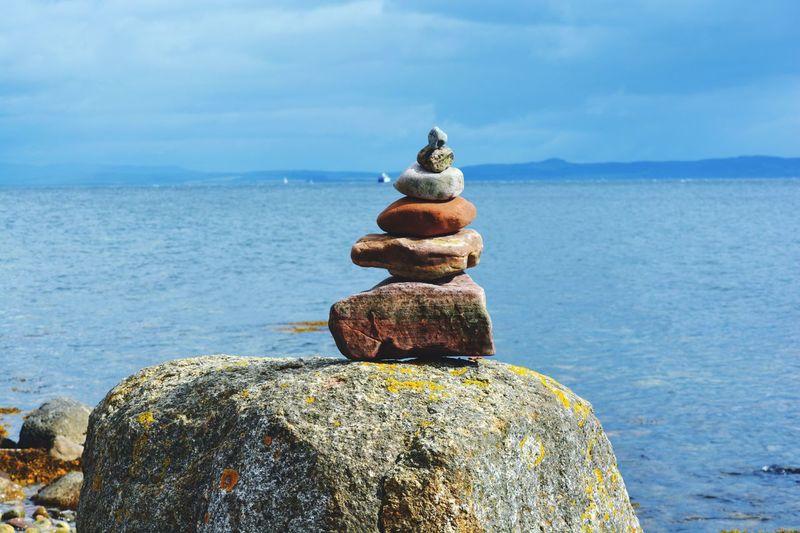 Stack of rocks in sea