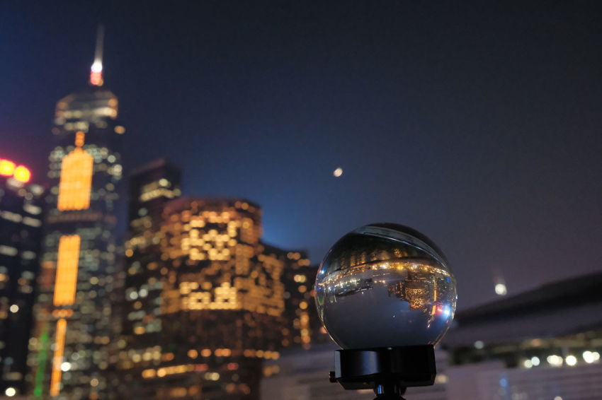 Cityscape Crystal Ball Home Hong Kong Nightphotography City Clear Sky Fujifilm Hong Kong Island Landscape Moon Night Outdoors Lost In The Landscape
