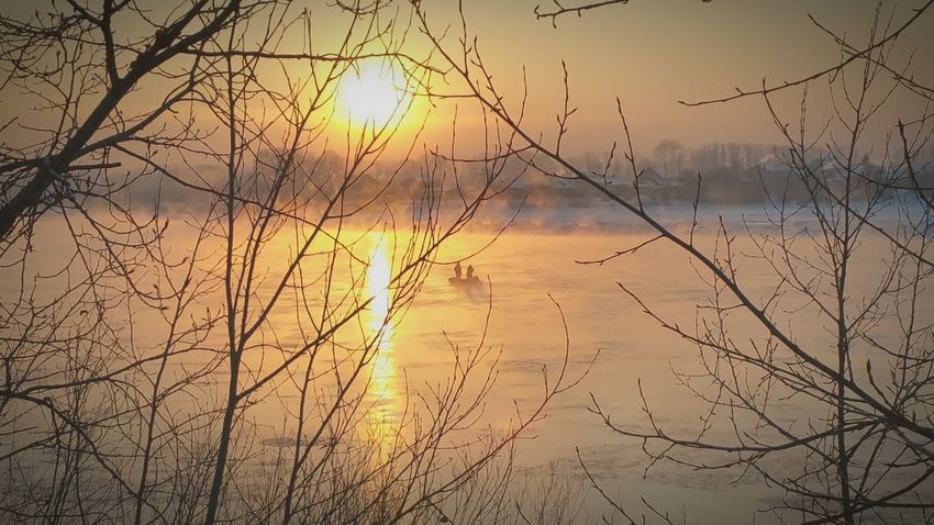 A New Beginning Buryatia Sunset Nature Beautiful Evening Autumn Colors Ulan-Ude EyeEm Gallery Streetphotography Capture The Moment Glitch EyeEm Nature Lover River Riverside View Golden Sunset Fisherboat Fishermans