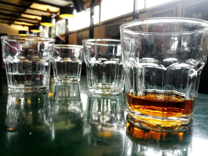 Everything In Its Place Drinking Brandy Water Bar Meeting Table Glasses People February 2016 Tirana Albania