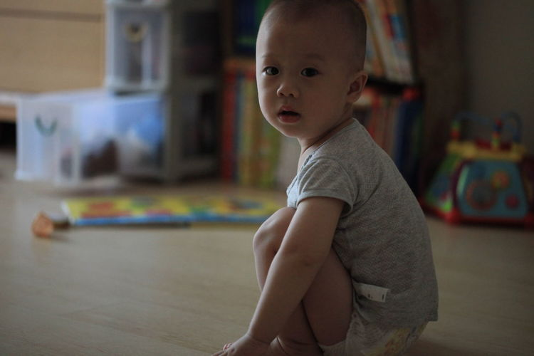 Portrait of cute boy at home
