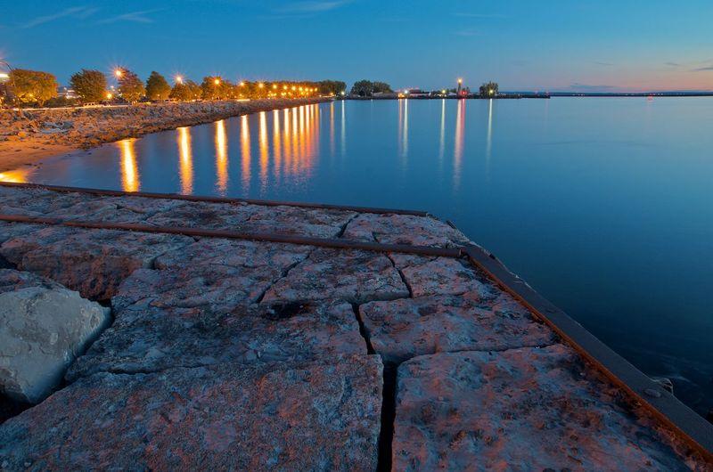 Buffalo, NY Basin Marina. Illuminated Long Exposure Nature Night No People Outdoors Reflection Sky Water
